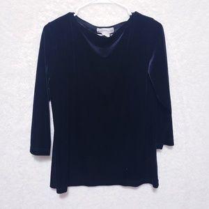 Casual corner velvet blouse 3/4 sleeve M